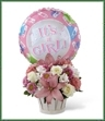 The Girls Are Great! Bouquet is blooming with sweet love to congratulate the new family on their darling baby girl! White roses, white Peruvian lilies, pink carnations, pink matsumoto asters, pink Asiatic lilies and lush greens are beautifully arranged in a round whitewash woodchip basket. Presented with a Mylar balloon declaring,