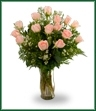 Fifteen long stemmed peach roses with ferns arranged in a glass vase.