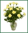 Eighteen carnations accented with greens in clear glass. Shown in yellow, but color may vary.