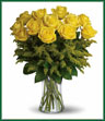 Yellow roses symbolize friendship, and sending this sunny bouquet of bright yellow flowers is such a beautiful way to celebrate a special bond. Destined to make anyone's day glow, these roses are brilliant! Glowing yellow roses and solidago mixed with greens are delivered in a clear glass gathering vase. Sunny skies ahead!