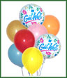 Balloon bouquet consisting of 6 latex balloons and 2 mylar Get Well balloons. Balloon types may vary.